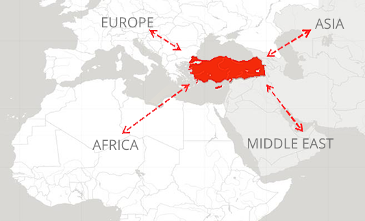 map showing the strategic location of Turkey