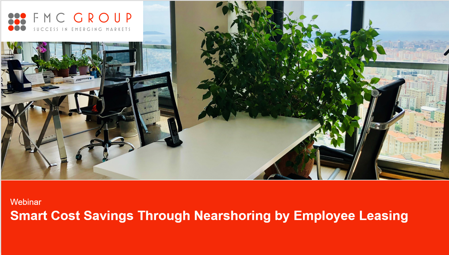 cover page of Webinar - Smart Cost Savings Through Nearshoring by Employee Leasing