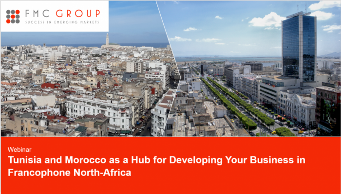 cover page of Webinar - Tunisia and Morocco as a Hub for Developing Your Business in Francophone North-Africa