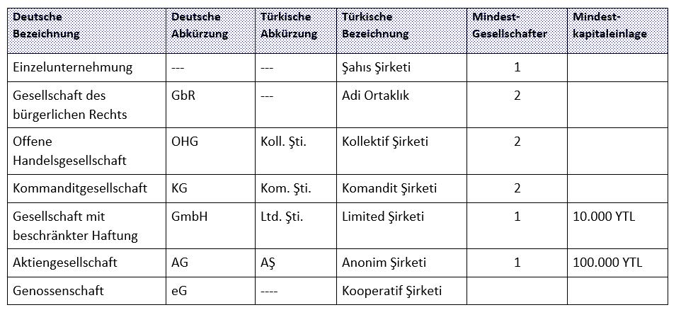 company types in Turkey, German