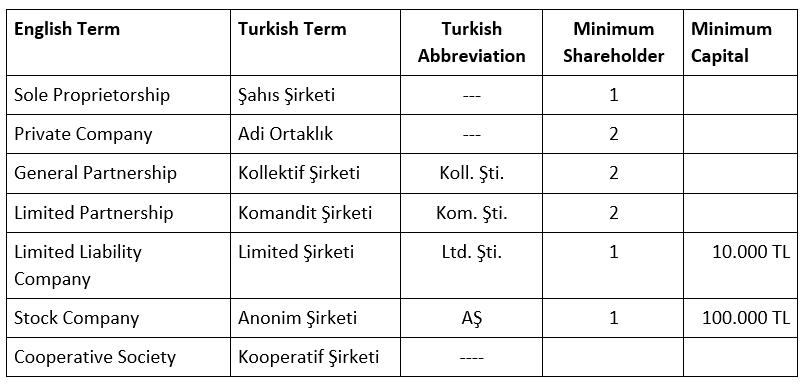 company types in Turkey